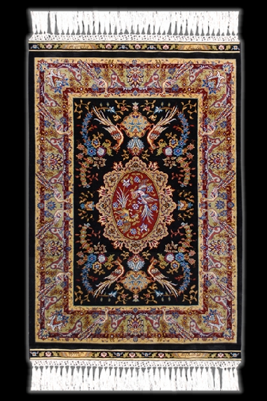 Hereke Silk Carpet_Medaillon with Birds of Paradise