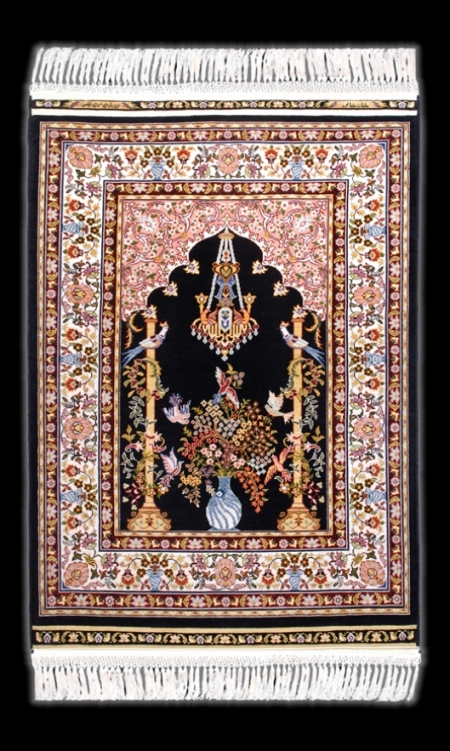 Hereke Silk Carpet_Mihrab_Nazar Boncuk