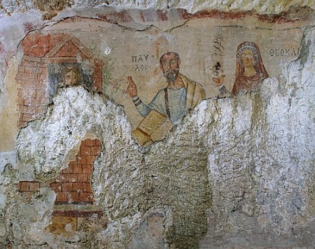 "Fresco ""Paulus Grotte"" (hole of Paulus) in Ephesos"