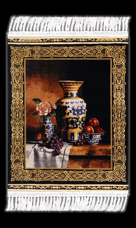 genuine Hereke silken rug after an oil painting: Still Life