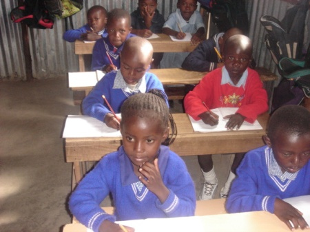 Pupils in a school in Nairobi's slums